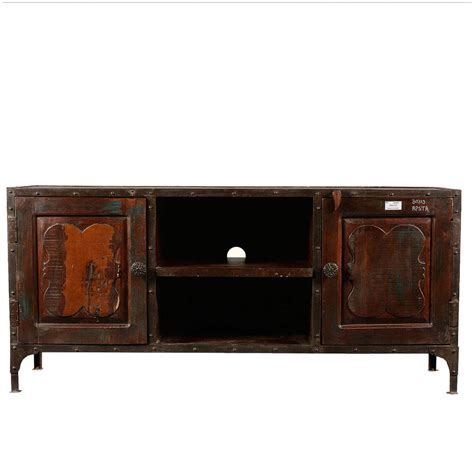 Reclaimed Wood Industrial Long TV Stand Media Console