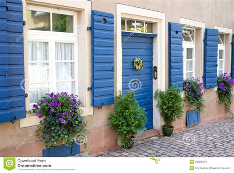 Flowers And Plants Decorating House Exterior Stock Photo