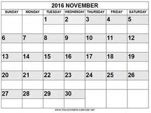 November 2016 Calendar Printable Free