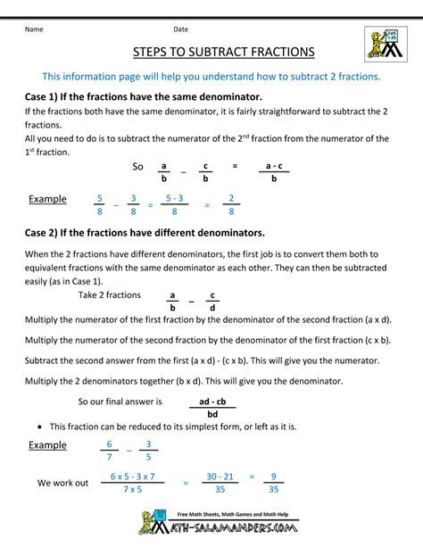 worksheet works fraction subtraction answers worksheet