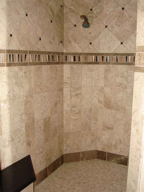 cool ideas travertine tile  shower walls