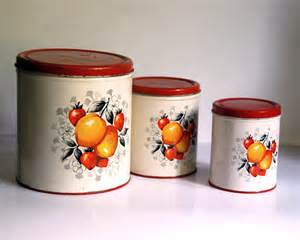 kitchen canisters set vintage metal canister set decoware country by calloohcallay