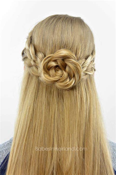 strand pullback flower braid rosette babes  hairland