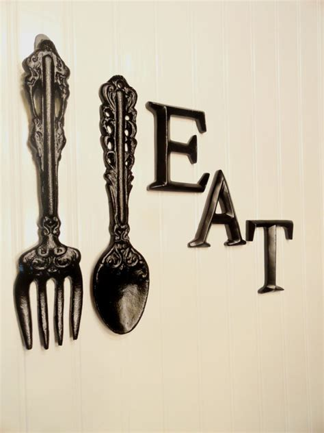Black Wooden Spoon And Fork Wall Decor by Black Kitchen Wall Decor Large Fork Spoon Wall Decor Eat