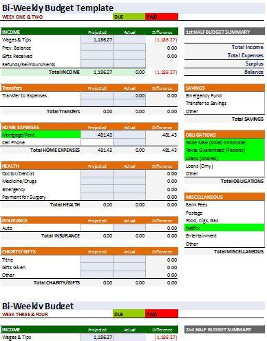 document templates   spreadsheet bi weekly budget