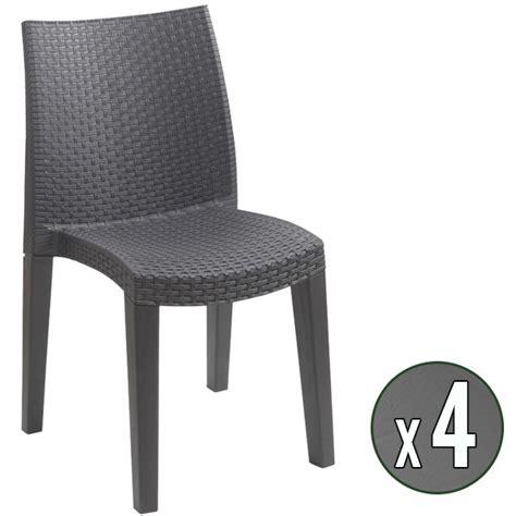 chaise de jardin en resine lot de 4 chaises de jardin anthracite en résine