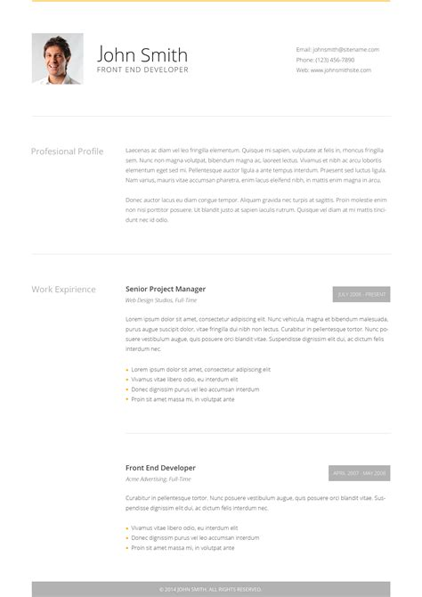 Intima Clean Responsive Resume Template Free by Clean Cv Responsive Resume Template 4 Bonuses By