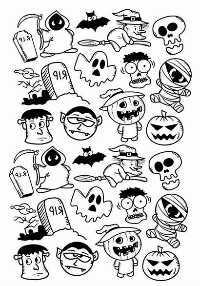 Coloring Doodle Characters Halloween Pages Adult Adults