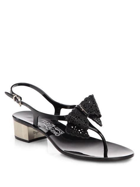 designer jelly sandals ferragamo perala bow jelly sandals in black lyst