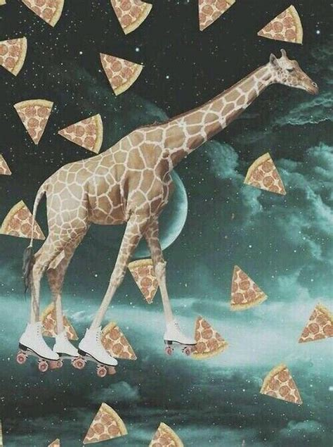 pizza space giraffe  roller skates giraffe art