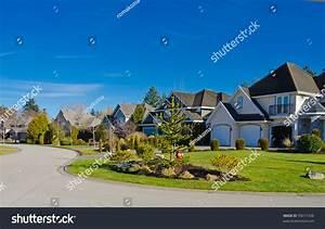 Nice Comfortable Neighborhood Some Homes Suburbs Stock ...