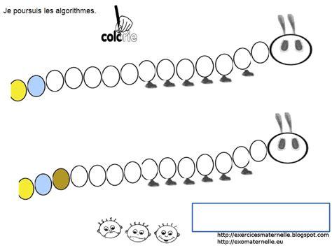 maternelle avec une chenille des algorithmes  des tableaux