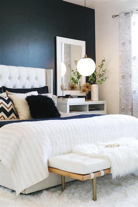 chambre lit blanc peinture noir et blanc pour chambre