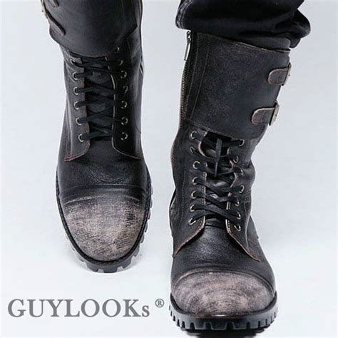 mens buckle biker boots designer homme mens vintage wash double buckle leather