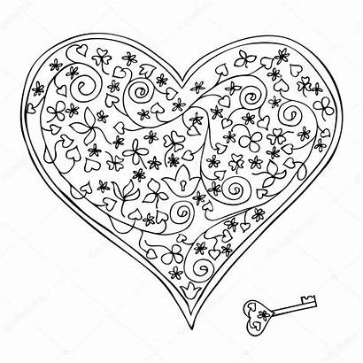 Lock Heart Key Shaped Vector Illustration Depositphotos