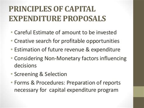 Capital Expenditure Proposals