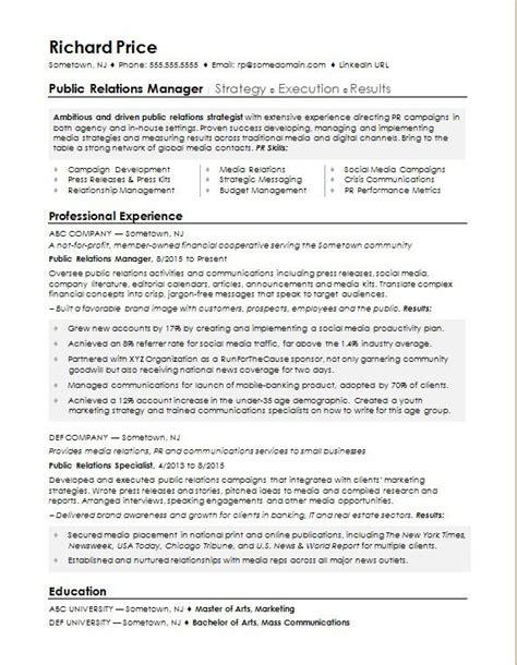 sample resume   public relations manager monstercom