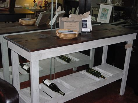Rustic Pine Top Wine Bar Buffet Table With Country Chic