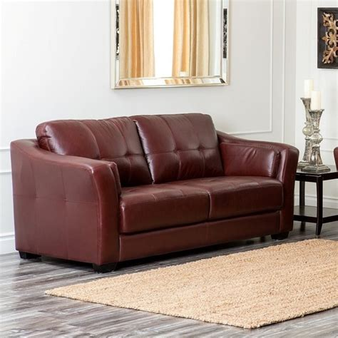 abbyson living leather sofa abbyson living florentine leather sofa in burgundy ci