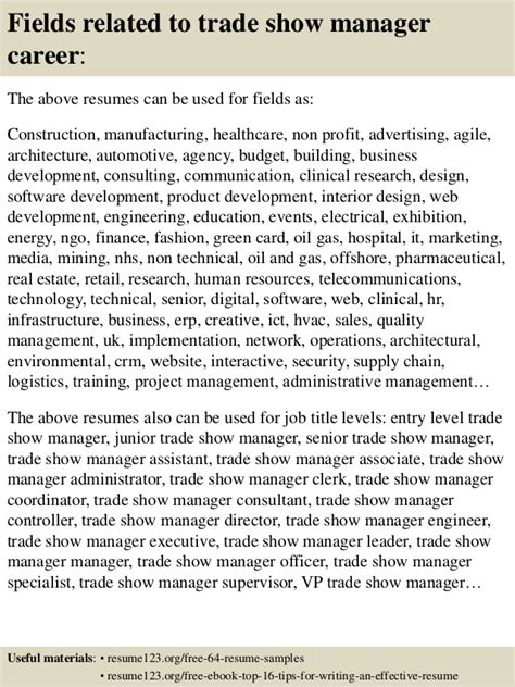 Trade Show Manager Resume by Top 8 Trade Show Manager Resume Sles