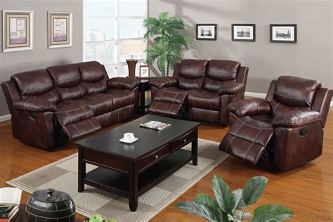 leather reclining 3pc sofa set poundex f7067 hot sectionals