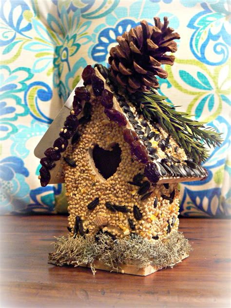 birdseed covered birdhouseall edible    glue