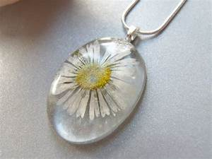 Real Daisy Necklace Real Flower Eco Jewelry Pressed Flowers