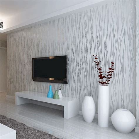 Non Woven Fashion Thin Flocking Vertical Stripes Wallpaper