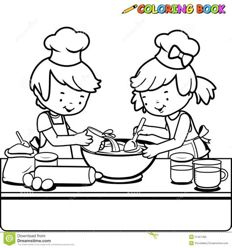 children cooking coloring book page stock vector