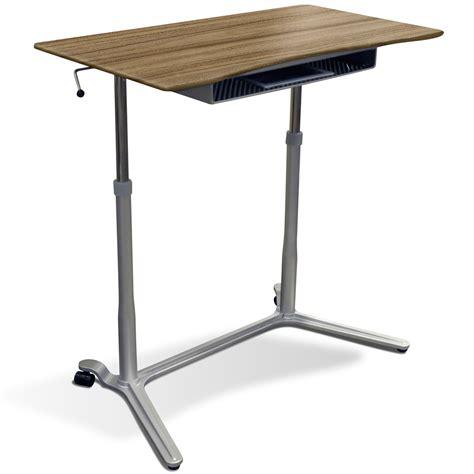 mobile sit stand desk mobile sit stand desk adjustable height walnut dcg