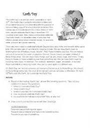 worksheets international earth day