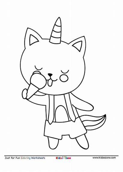 Coloring Cat Ice Cream Cartoon Eating Worksheet