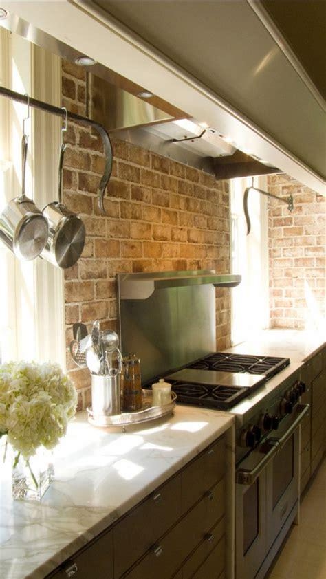 brick backsplashes rustic  full  charm