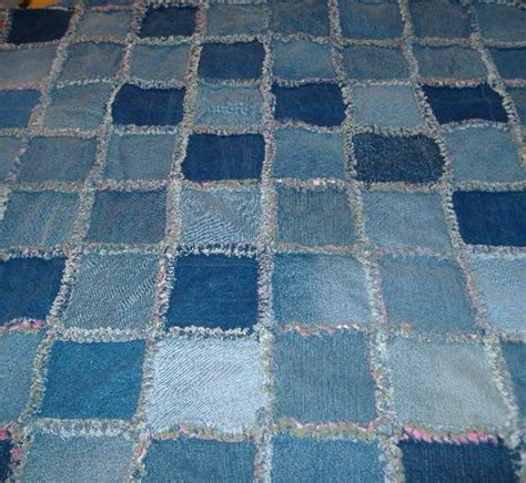 blue jean quilt recycled blue jean denim rag quilt pink and green flannel