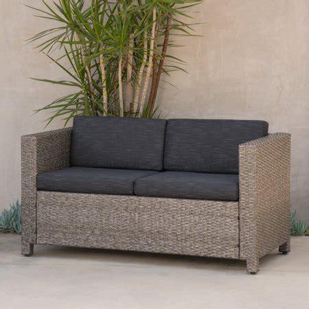 Black Wicker Loveseat by Outdoor Wicker Loveseat With Cushions Grey Black