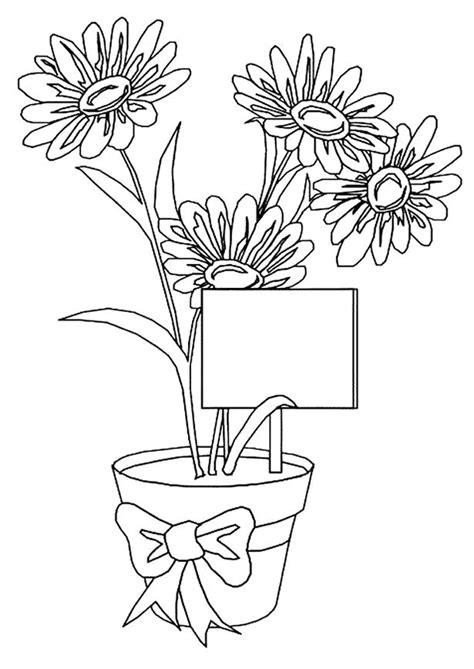 coloriage un pot de jolies fleurs pour maman hugolescargot