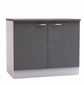 Meuble Blanc Et Gris : meuble bas de cuisine contemporain 2 portes blanc mat gris ~ Dailycaller-alerts.com Idées de Décoration