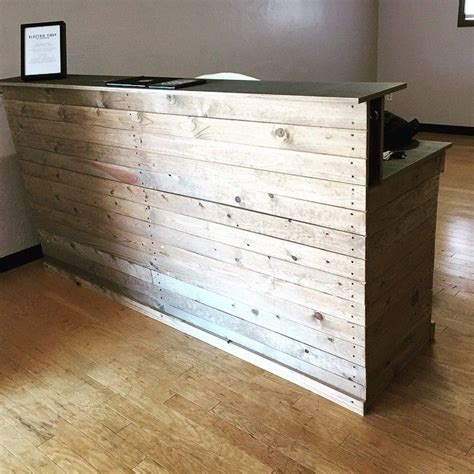 recycled wooden reception desk google search wooden