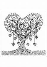 Tree Trees Coloring Adult Adults Flowers Pages Heart Vegetation Nature Discover Fleurs Plants sketch template