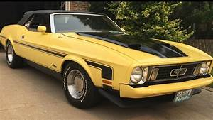 """1973 yellow mustang convertible 351 Cleveland lowered 2.5"""" 3:25 posi 