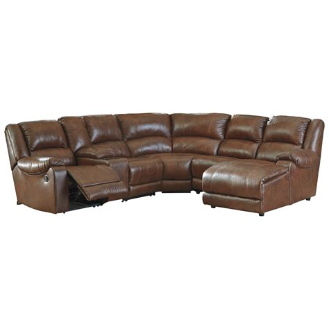 leather reclining sectional with chaise signature design by billwedge leather match