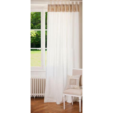 rideau 224 passants en coton blanc et beige 150 x 250 cm napoli maisons du monde