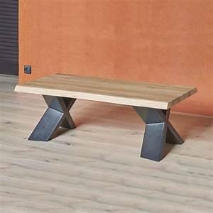 Pied De Table Basse Metal : table basse moderne en ch ne massif et m tal pieds en x forest 4 ~ Teatrodelosmanantiales.com Idées de Décoration