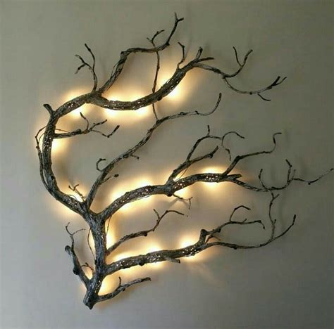 Felt christmas tree diy with led lights for kids christmas decoration ships asap. DIY Wall Art - Rustic Lighted Tree Branch   Diy furniture for sale, Unique wall decor, Solar lights