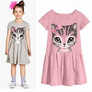 Lovely Cat Animal Print Baby Girl Dress Children Summer ...