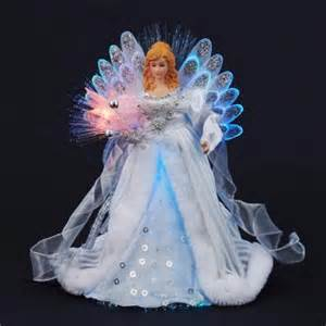 12 quot elegant silver and white led light fiber optic angel christmas tree topper walmart com