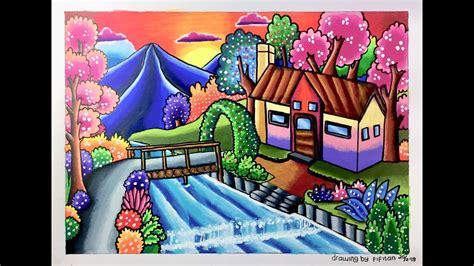 menggambar  mewarnai pemandangan rumah tepi sungai