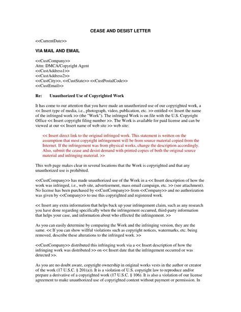 cease  desist letter template  harassment