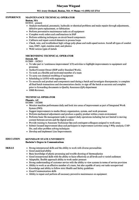 Operator Resume by Technical Operator Resume Sles Velvet