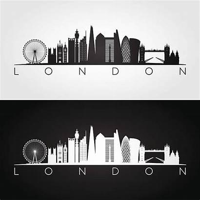 Skyline London Silhouette Landmarks Vector Illustration Clip